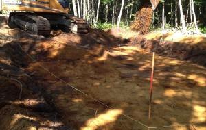 Excavation pour la réalisation d'un champ septique